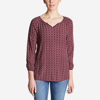 Women's Thistle 3/4-Sleeve Popover Shirt in Red