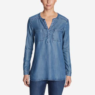 Women's Tranquil Embroidered Popover Tunic in Blue