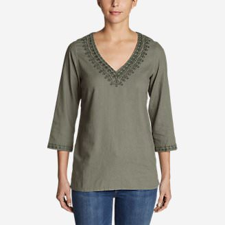 Women's Vista Point Tunic w/ Embroidery in Green