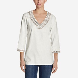 Women's Vista Point Tunic w/ Embroidery in White
