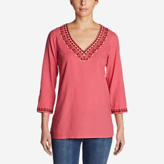 Women's Vista Point Tunic w/ Embroidery in Red