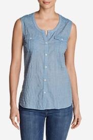 Women's Packable Sleeveless Shirt - Solid in Blue