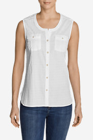Women's Packable Sleeveless Shirt - Solid in White