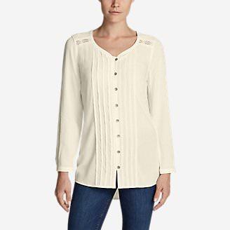 Women's Thistle Long-Sleeve Crochet Tunic in White
