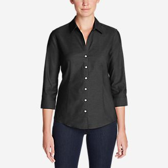 Women's Wrinkle-Free 3/4-Sleeve Shirt - Solid in Black