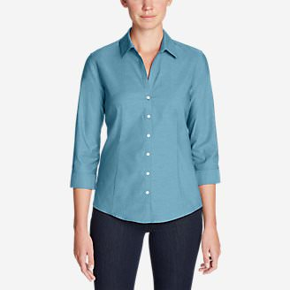 Women's Wrinkle-Free 3/4-Sleeve Shirt - Solid in Blue