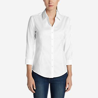 Women's Wrinkle-Free 3/4-Sleeve Shirt - Solid in White