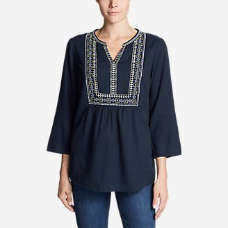 Women's Paintbrush Embroidered Top in Blue