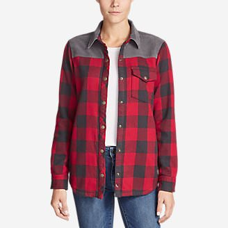 Women's Fireside Blocked Shirt Jacket in Red