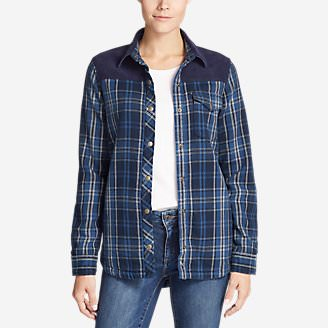 Women's Fireside Blocked Shirt Jacket in Blue