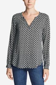Women's Sunrise Long-Sleeve Popover Shirt - Printed in Black