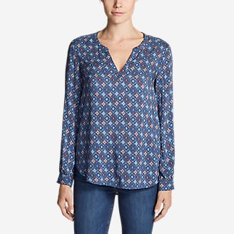 Women's Sunrise Long-Sleeve Popover Shirt - Printed in Blue