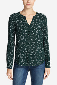Women's Sunrise Long-Sleeve Popover Shirt - Printed in Green