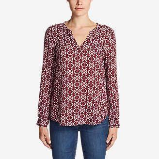 Women's Sunrise Long-Sleeve Popover Shirt - Printed in Red