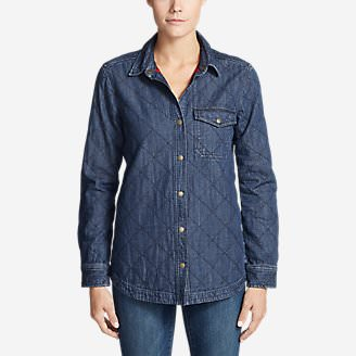 Women's Quilted Indigo Shirt Jacket in Beige