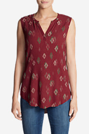 Women's Thistle Sleeveless Popover Top - Print in Red