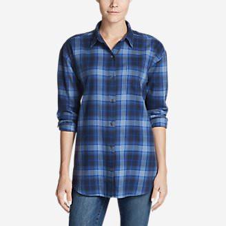 Women's Stine's Favorite Flannel Ex-Boyfriend Tunic Shirt in Blue