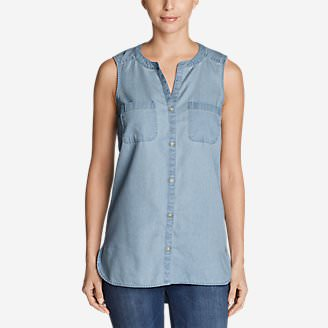 Women's Tranquil Sleeveless Tunic Shirt in Blue