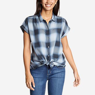 Women's Tranquil Short-Sleeve Shirred Shirt - Pattern in Blue