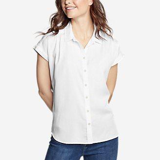Women's Tranquil Short-Sleeve Shirred Shirt - Indigo in White