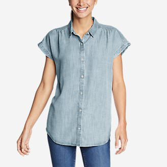 Women's Tranquil Short-Sleeve Shirred Shirt - Indigo in Blue