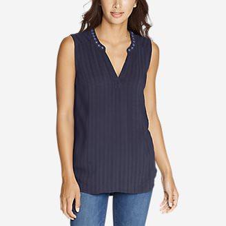 Women's Sunrise Sleeveless Dobby Shirt in Blue