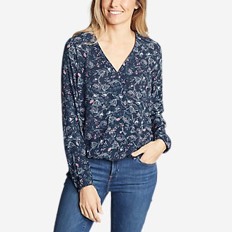Women's Thistle Long-Sleeve Wrap Top - Print in Blue