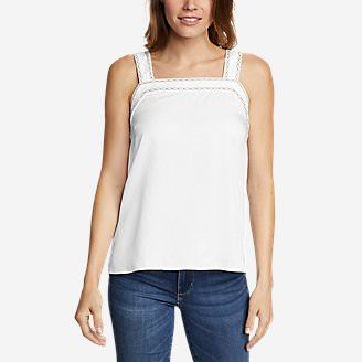 Women's Tranquil Square-Neck Embroidered Sleeveless Top in White