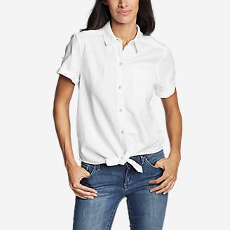 Women's Emmons Vista Short-Sleeve Tie-Front Shirt - Boyfriend in White