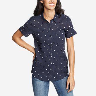 Women's Packable Short-Sleeve Shirt - Boyfriend in Blue