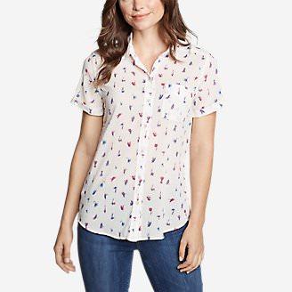 Women's Packable Short-Sleeve Shirt - Boyfriend in White