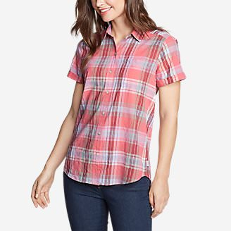 Women's Packable Short-Sleeve Shirt - Boyfriend in Orange