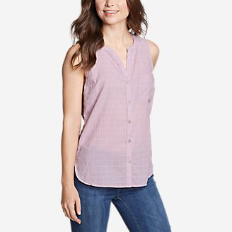 Women's Packable Sleeveless Shirt - Boyfriend in Purple