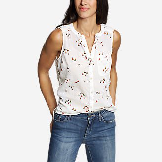Women's Packable Sleeveless Shirt - Boyfriend in White
