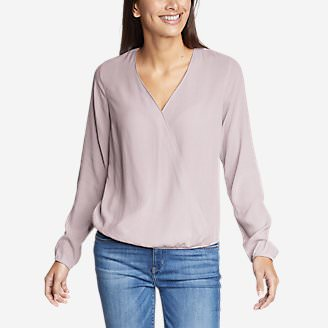 Women's Thistle Long-Sleeve Wrap Top - Solid in Red