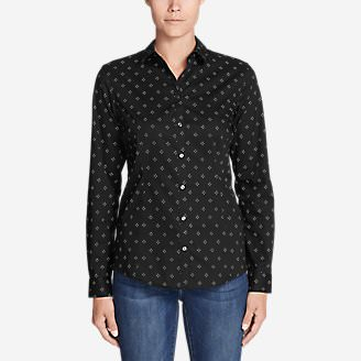 Women's Wrinkle-Free Long-Sleeve Shirt - Print in Black