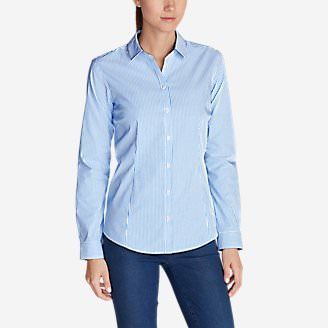 Women's Wrinkle-Free Long-Sleeve Shirt - Print in Blue