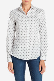 Women's Wrinkle-Free Long-Sleeve Shirt - Print in White