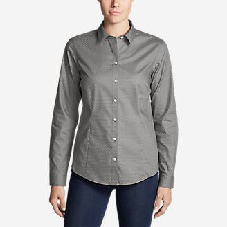 Women's Wrinkle-Free Long-Sleeve Shirt - Print in Gray