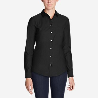 Women's Wrinkle-Free Long-Sleeve Shirt - Solid in Black