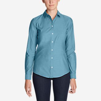 Women's Wrinkle-Free Long-Sleeve Shirt - Solid in Blue