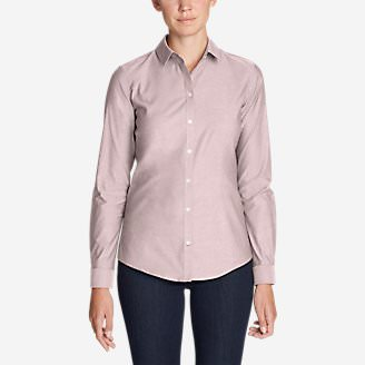 Women's Wrinkle-Free Long-Sleeve Shirt - Solid in Red