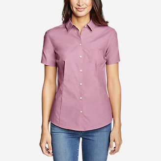 Women's Wrinkle-Free Short-Sleeve Shirt - Solid in Purple