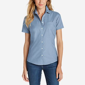 Women's Wrinkle-Free Short-Sleeve Shirt - Solid in Blue