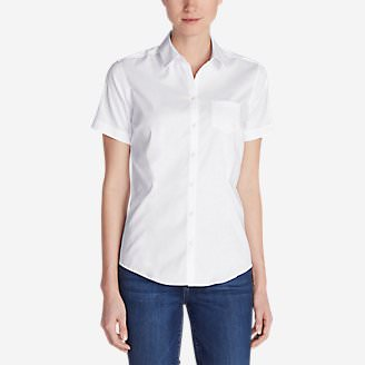 Women's Wrinkle-Free Short-Sleeve Shirt - Solid in White
