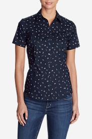 Women's Wrinkle-Free Short-Sleeve Shirt - Print in Blue