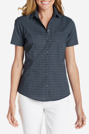 Women's Wrinkle-Free Short-Sleeve Shirt - Print in Blue