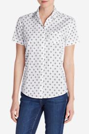 Women's Wrinkle-Free Short-Sleeve Shirt - Print in White