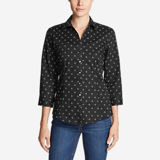 Women's Wrinkle-Free 3/4-Sleeve Shirt - Print in Black