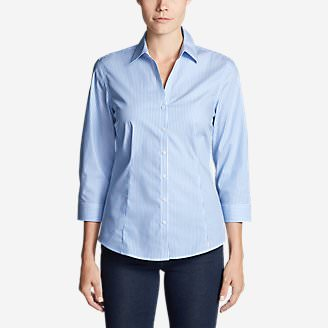 Women's Wrinkle-Free 3/4-Sleeve Shirt - Print in Blue